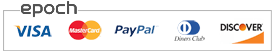 PayPal VISA, MasterCard and Discover logos, supported by Epoch